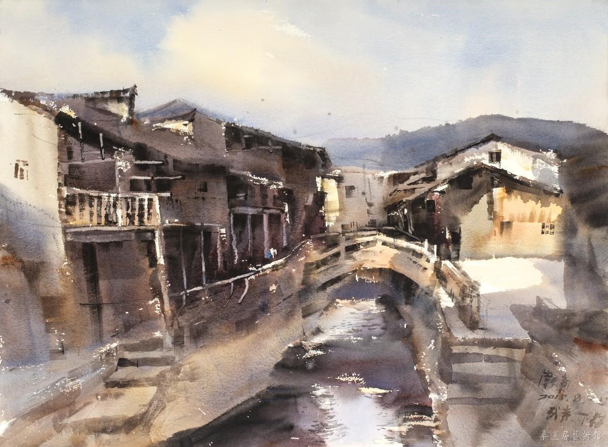 古镇水彩风景步骤图