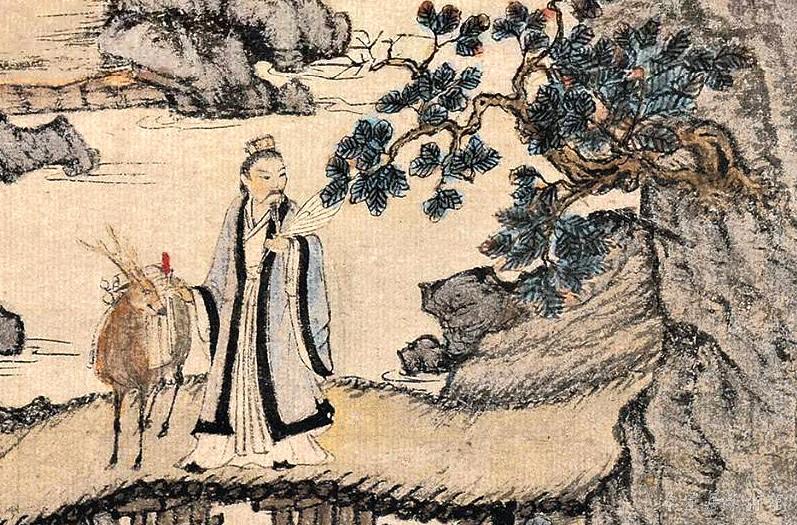 元 王蒙 《葛稚川移居图》轴 设色纸本 139×58cm 故宫博物院藏 局部4