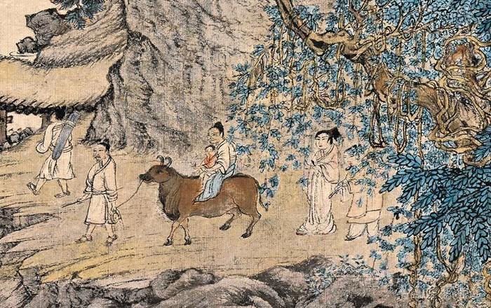 元 王蒙 《葛稚川移居图》轴 设色纸本 139×58cm 故宫博物院藏 局部5 缩图