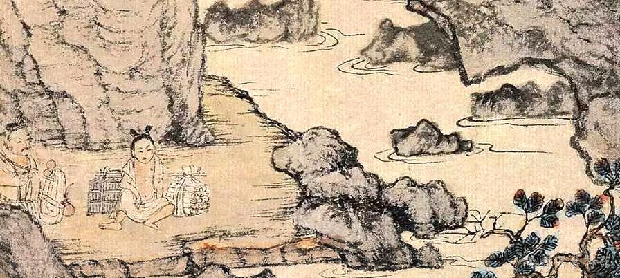 元 王蒙 《葛稚川移居图》轴 设色纸本 139×58cm 故宫博物院藏 局部7
