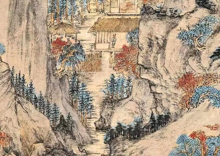 元 王蒙 《葛稚川移居图》轴 设色纸本 139×58cm 故宫博物院藏 局部8 缩图