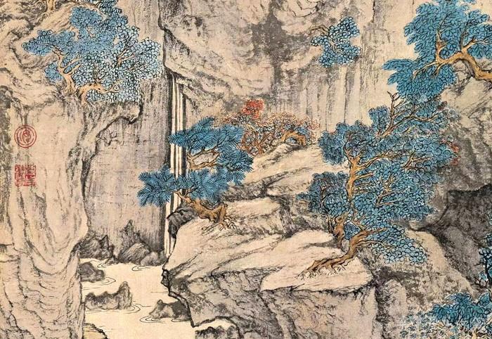 元 王蒙 《葛稚川移居图》轴 设色纸本 139×58cm 故宫博物院藏 局部11 缩图