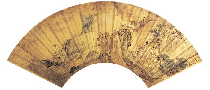 清 胡慥 葛洪移居图 扇面 纵53厘米 横17厘米 北京故宫博物院藏 副本