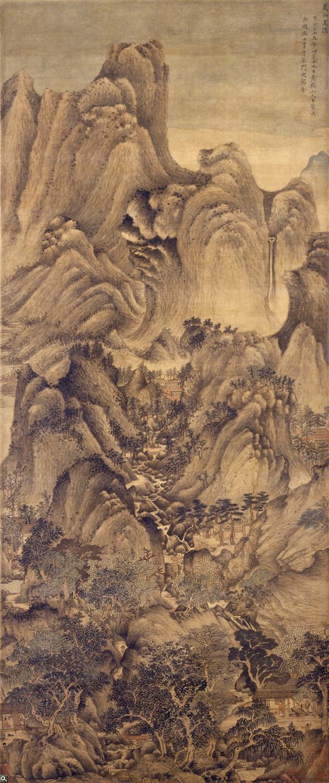 王蒙 《夏山高隐图》轴 绢本设色 149×63.5cm 故宫博物院藏 缩图