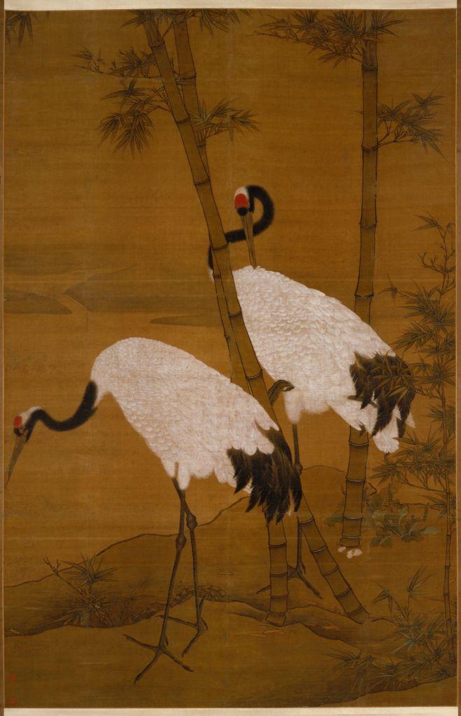 边景昭 《竹鹤图》轴,明,边景昭绘,绢本,设色,纵180.4cm,横118cm 北京故宫博物院藏