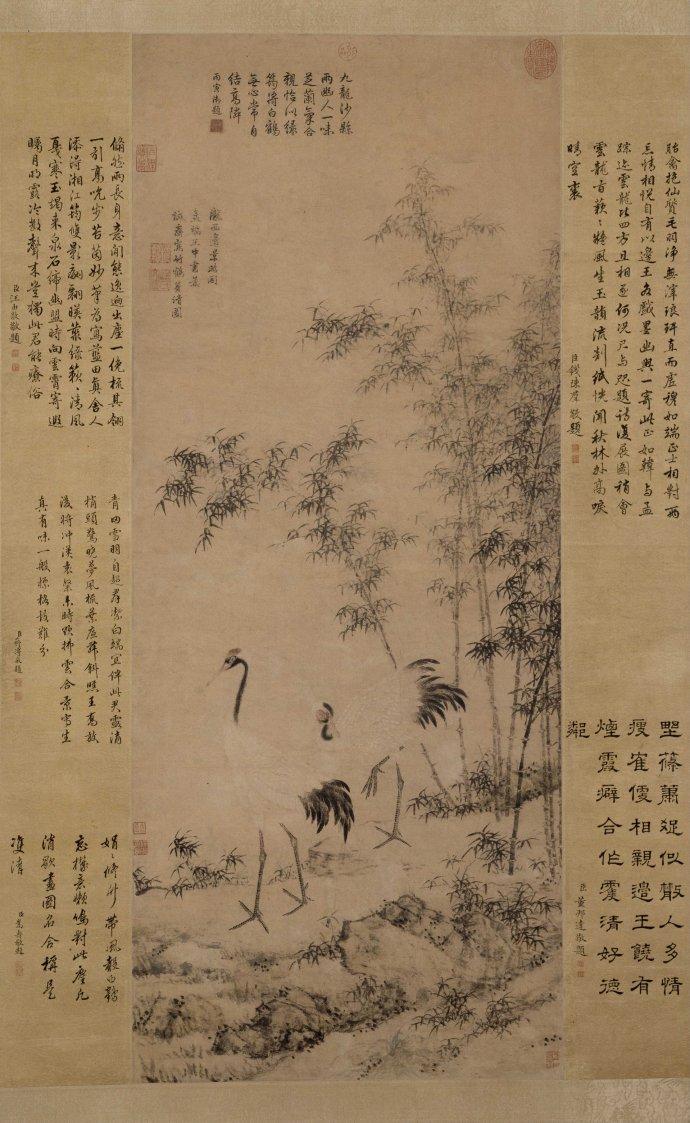 明 边景昭 王绂 竹鹤双清图轴 纸本设色 109x46.6cm 北京故宫博物院藏