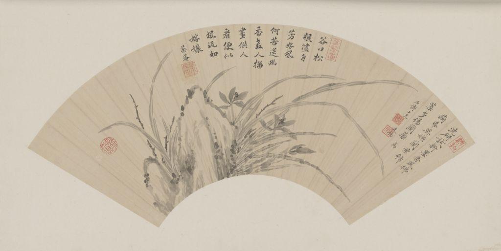 《兰石图》扇页,清,蒋廷锡绘,纸本,墨笔,纵16.5cm,横49.1cm。故宫博物院藏