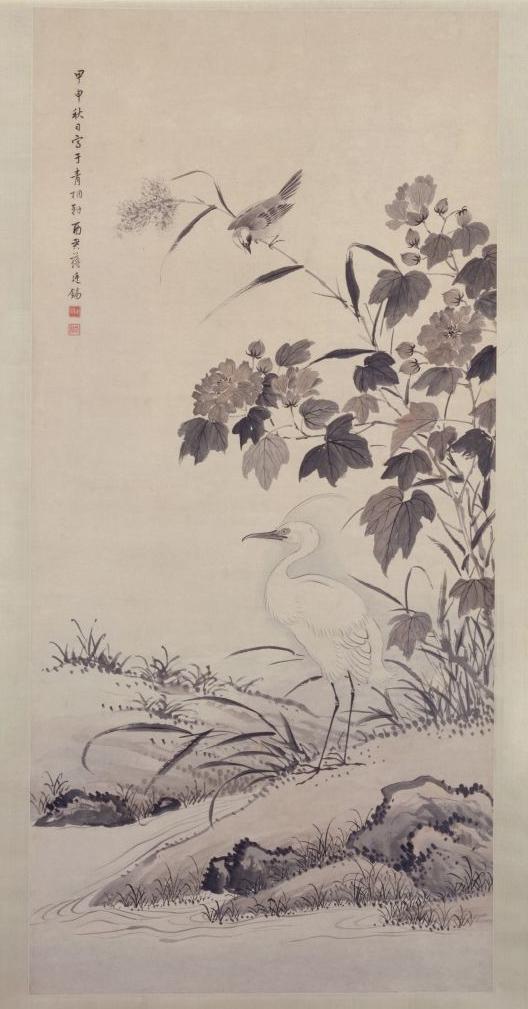 《芙蓉鹭鸶图》轴,清康熙四十三年(1704年),蒋廷锡绘,纸本,墨笔,纵127.7cm,横60