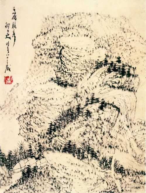 明 程邃 千岩竞秀图 轴纸本水墨 29.5×22.7厘米 浙江省博物馆藏 副本缩图