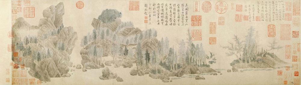 钱选 浮玉山居图 设色纸本 29.6×98.7 cm 上海博物馆藏 副本缩图