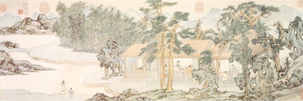 明 文徵明 真赏斋图 纸本淡设色 28.6×79cm 上海博物馆藏 副本缩图