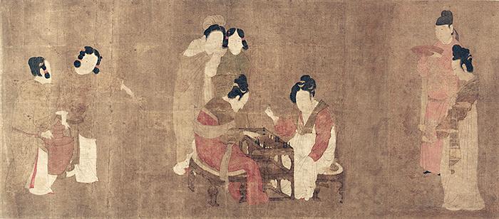 唐 周昉 内人双陆图 卷 绢本 纵30.7×64.4厘米 美国弗利尔美术馆藏 副本缩图
