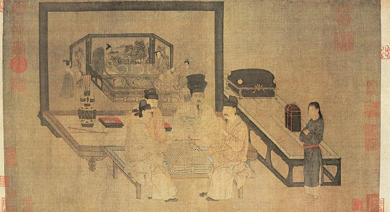 五代 周文矩 重屏会棋图 绢本设色 40.3×70.5cm 故宫博物院藏 副本缩图