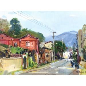 河市老街(油画)