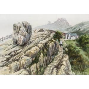 泰山瞻鲁石(水彩)