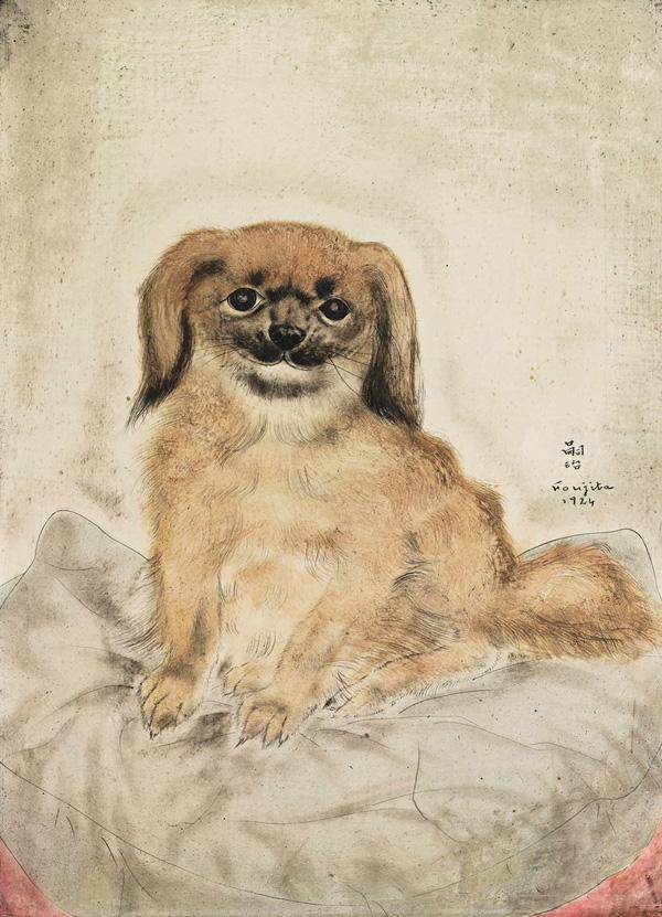 姚谦收藏的画作《北京狗》,藤田嗣治作品。