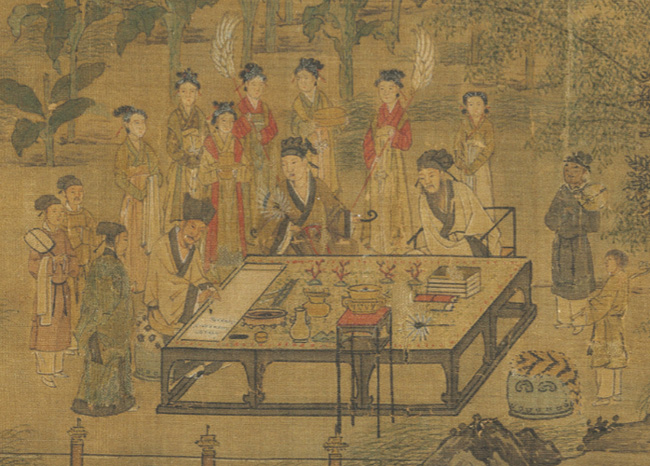 第一组:王诜、蔡肇和李之仪围观苏轼写书法 缩图