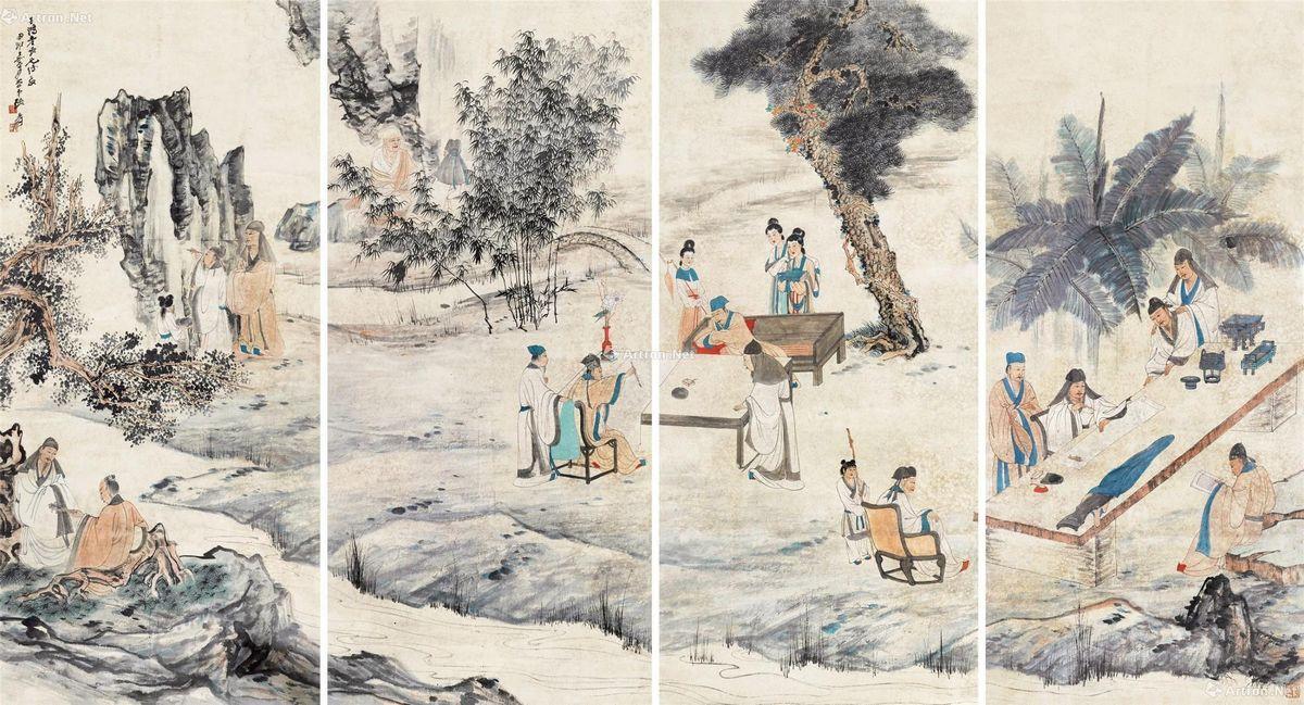 张大千 西园雅集图 纸本设色立轴 162×74 cm.×4 出版:《张大千巴蜀精品集》第65页四川美术出版社2002年