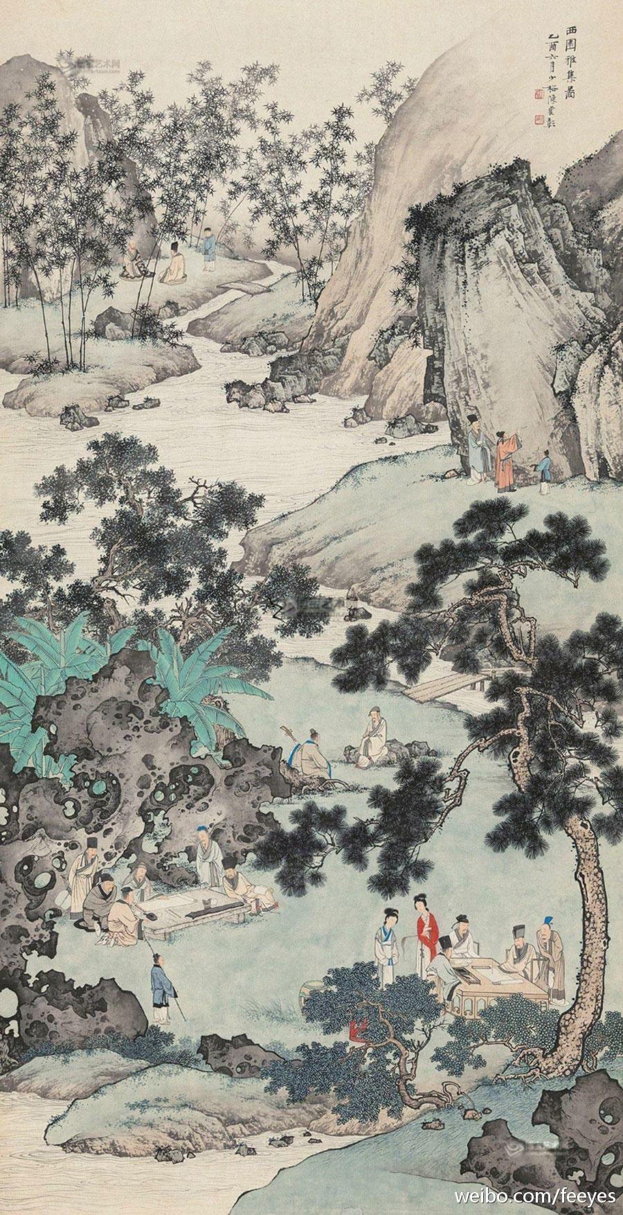 陈少梅 西园雅集图 1945年作 131×67.5cm 立轴纸本 北京匡时拍卖2017秋拍