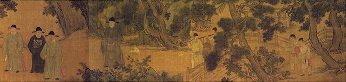 明 谢环 杏园雅集图(全卷)3 绢本设色 37×401cm 镇江博物馆藏 缩图