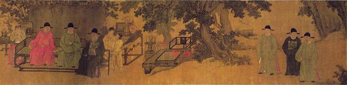 明 谢环 杏园雅集图(全卷)2 绢本设色 37×401cm 镇江博物馆藏 缩图