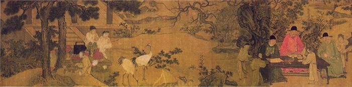 明 谢环 杏园雅集图(全卷)1 绢本设色 37×401cm 镇江博物馆藏 缩图