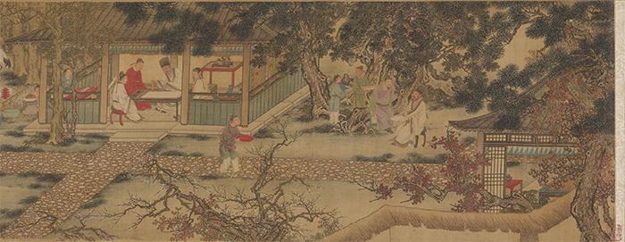 明 谢环 香山九老图 绢本设色 29.8×148.2厘米 美国克利夫兰美术馆藏 局部1 缩图