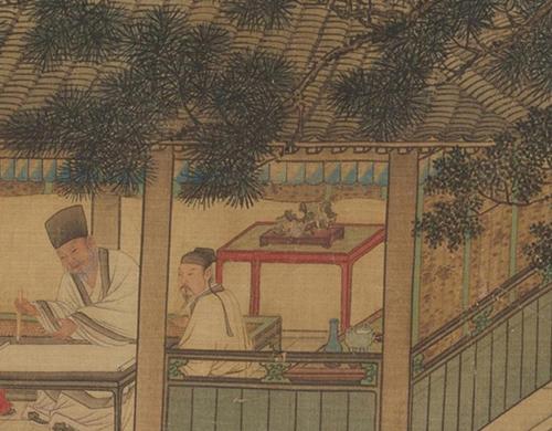 明 谢环 香山九老图 绢本设色 29.8x×148.2厘米 美国克利夫兰美术馆藏 奇石部分 缩图