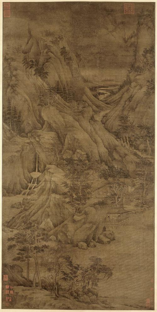 五代 董源 溪岸图 绢本设色 221.5×110cm 美国大都会博物馆藏 王季迁旧藏 副本缩图