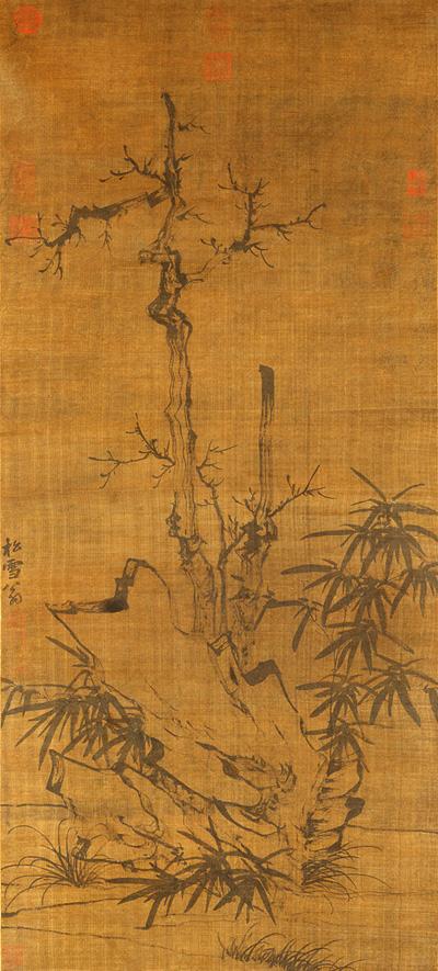赵孟頫 枯木竹石图轴 元,绢本墨笔,纵108.2厘米,横48.8厘米,故宫博物院藏 副本缩图