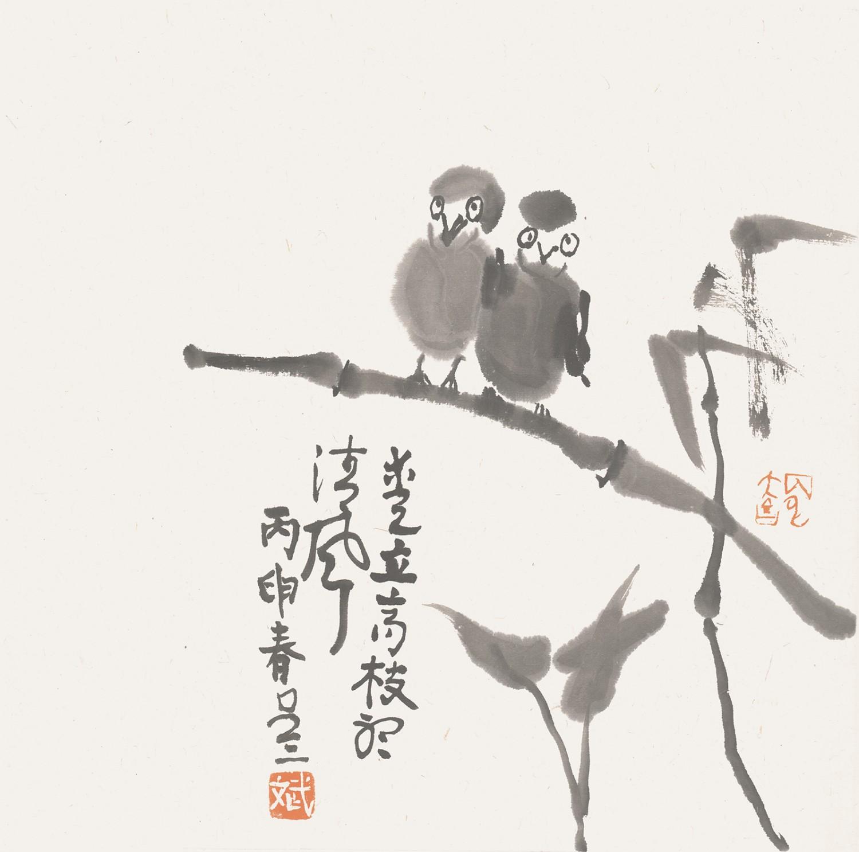 爱立高枝听清风(34cmX34cm)