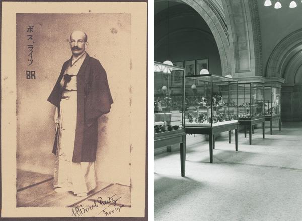 """左:从1918年到1922年间,时任Met远东部首任策展人雷茨(Sigisbert Chretien Bosch Reitz),图片摄于1900年,日本。右:最早的""""远东艺术""""展示空间,现展厅202。图片摄于1933年。 1915年,亚洲部门成立时实际被称做""""远东艺术"""",印度艺术则与伊斯兰艺术、近东艺术一起展示直到1932年"""