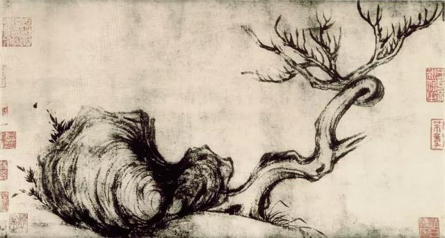 苏轼 枯木竹石图 紙本 水墨 26.5×50.5公分