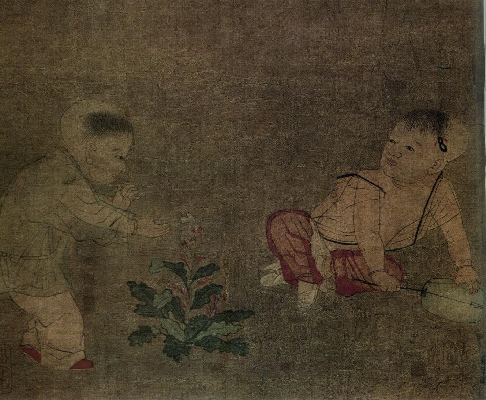 天津博物馆收藏有苏汉臣的《婴戏图》(图2),绢本,设色。纵18.2厘米,横22.8厘米。
