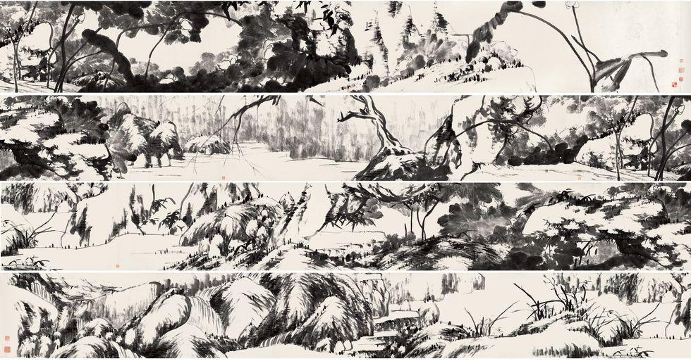 清朱耷《河上花图卷》纸本,墨笔。纵47厘米,横1292.5厘米天津市艺术博物馆藏