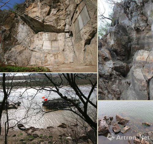 约唐天宝年间,瘗鹤铭下半部铭石被雷击中坠入江中.传为瘗鹤铭原石崩落遗址及江边落水处现状。