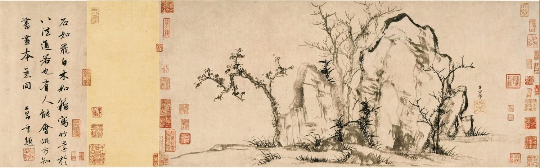 赵孟頫 秀石疏林图 纸本水墨 27.50×62.80cm 北京故宫博物院藏