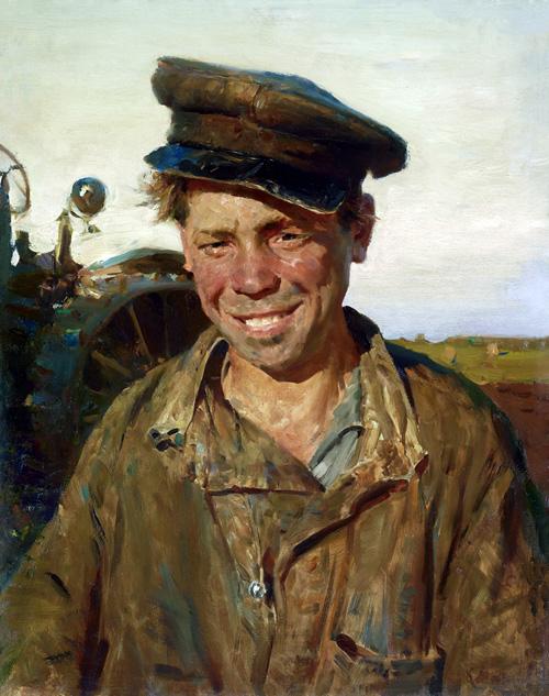小拖拉机手萨沙 在50年代曾得过最高文艺奖 1954年 布面油画  56×45cm 马克西莫夫 副本缩图