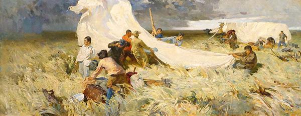 詹建俊《起家》 布面油画 140cm×384cm 1957年 副本 缩图