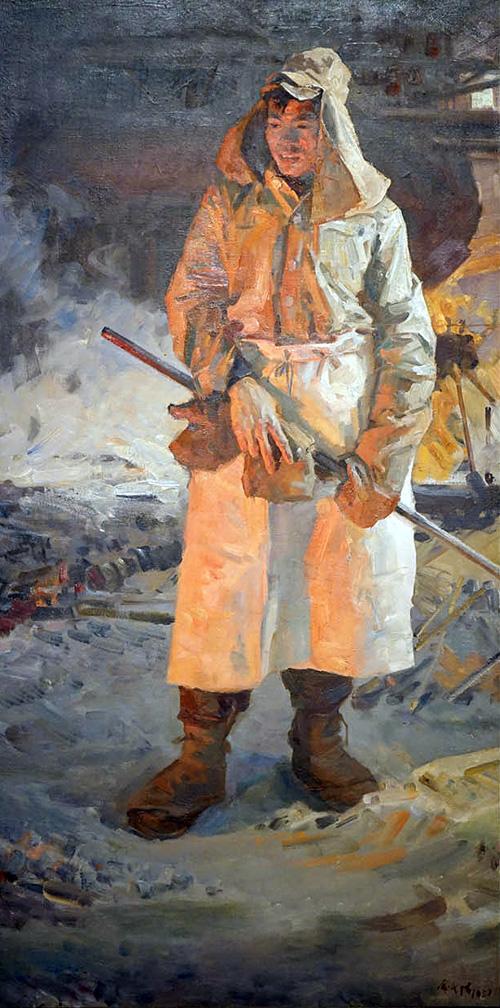 俞云阶《炼钢工人》 144cm×72cm 布面油画 1957年 副本 缩图