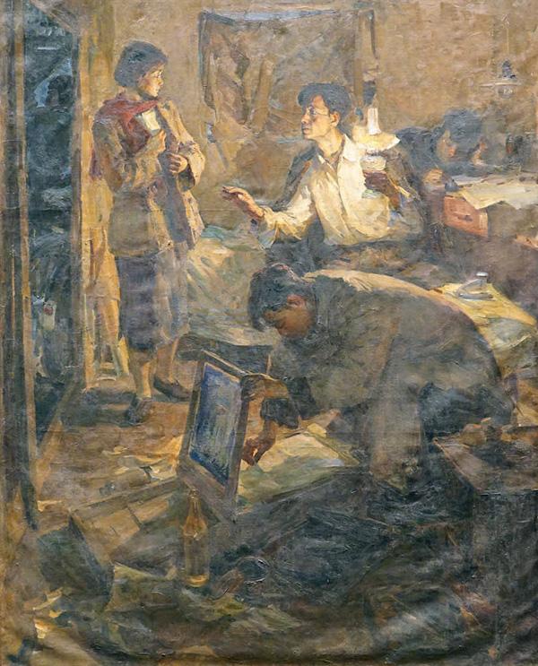 侯一民《地下工作者》 210cm×176cm 布面油画 1957年 副本 缩图