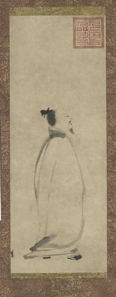 [南宋]梁楷《太白行吟图》轴,纸本墨笔,纵81.2厘米,横30.4厘米,(日)东京国立博物馆藏。