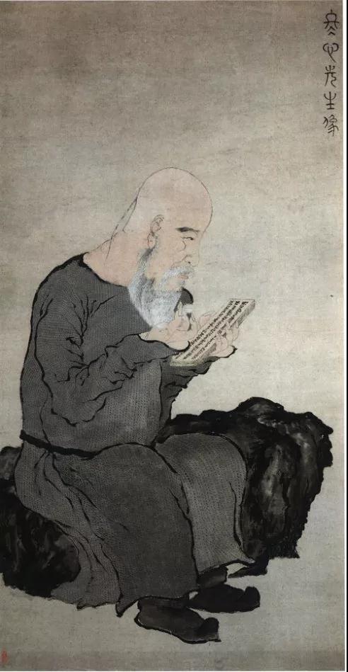 ▲ 罗聘,金农像,纸本设色,113.7×59.3厘米,浙江省博物馆藏