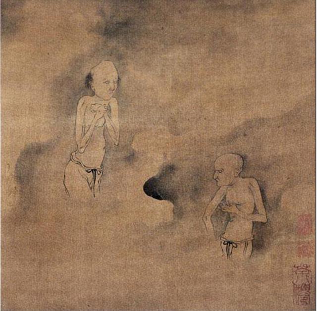 第一幅,黑气笼罩着两个小鬼,隐约可见头面,肩膀往下不大能辨认出来。