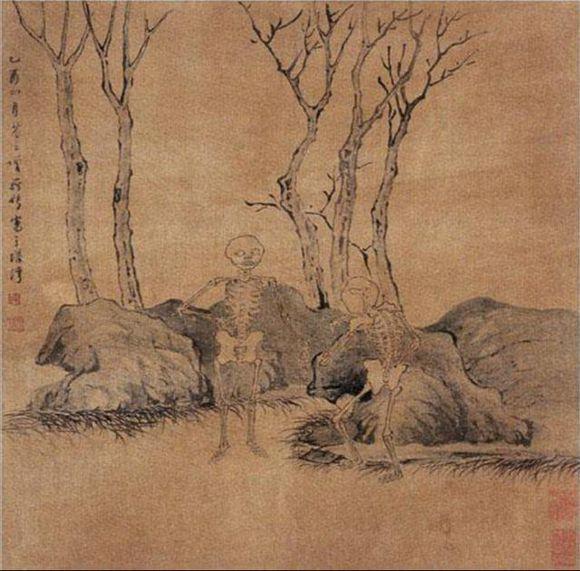 第八幅,青林黄草中黑石一丛,藏有两具骷髅站立着,一个倚石外向,另一个据石内向,是一男一女两鬼在说话。
