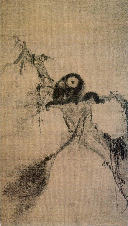宋 牧溪 松猿图 绢本水墨 173.3x99.4cm 日本东京大德寺藏