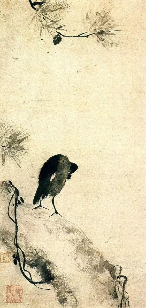 《叭叭鸟图》立轴,纵78.5厘米,横39厘米,日本私人收藏