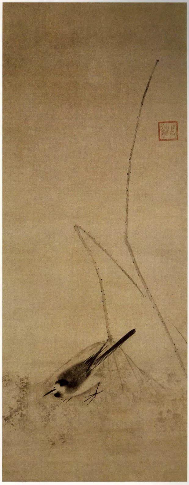 宋 牧溪 鸟荷图 藏于日本 副本