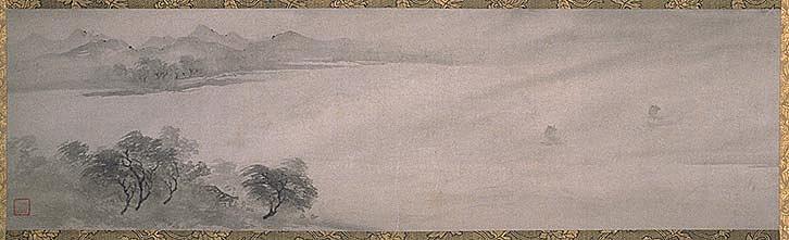 伝牧谿筆 一幅 紙本墨画 32.3×103.6 cm 中国 南宋時代(13世紀)重要文化財