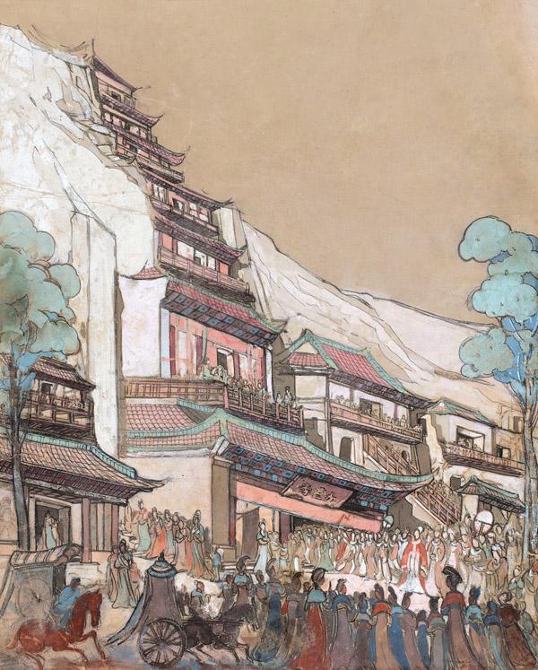 常书鸿《九层楼》 1945年作 纸本水粉 49×39cm 发表《常书鸿绘画作品集》,P65,岭南美术出版社,1997年12月出版。《常书鸿画集》,P229,吉林美术出版社,2004年7月出版。中国嘉德2015秋拍 缩图